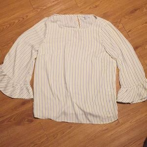 Blue and yellow striped blouse